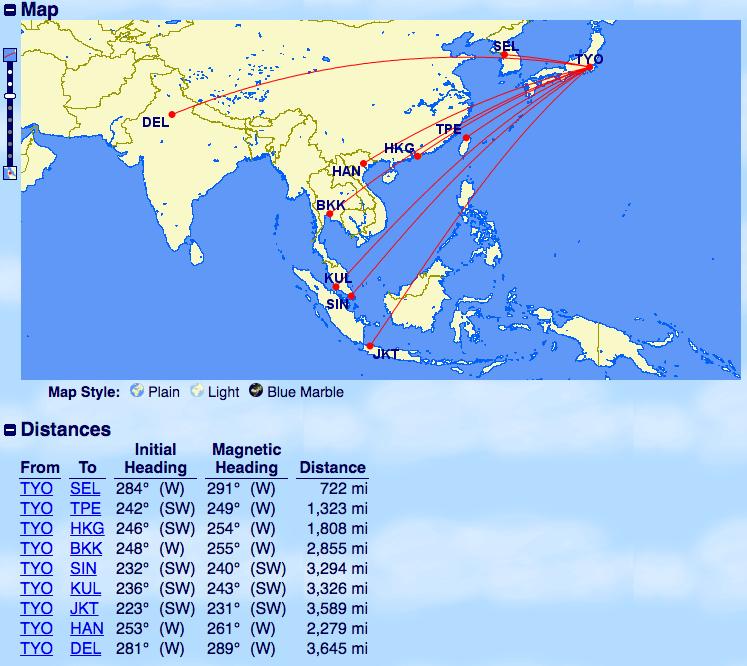 飛行距離-東京