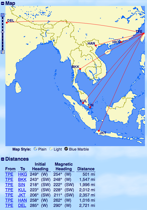 飛行距離-台北