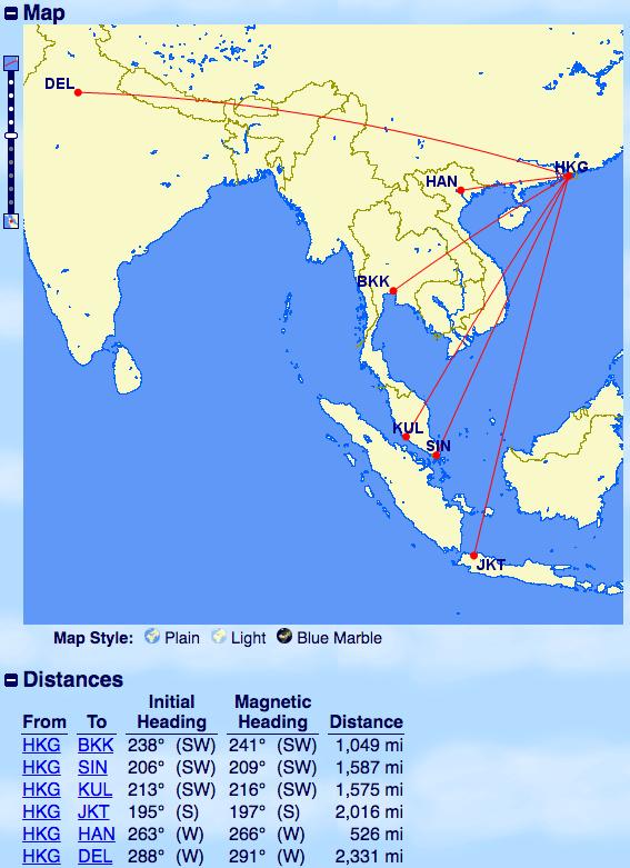 飛行距離-香港