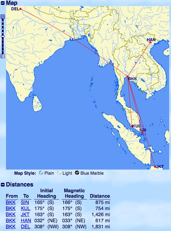 飛行距離-バンコク