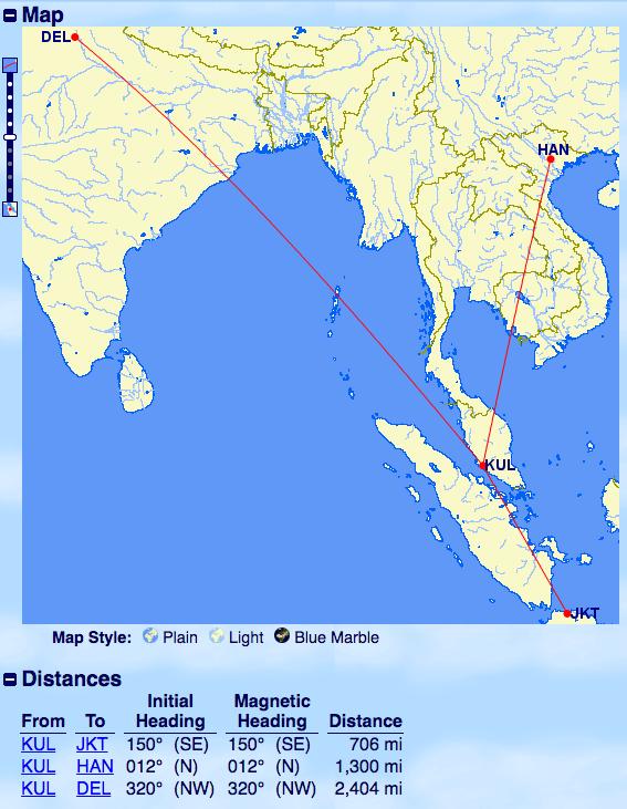 飛行距離-クアラルンプール