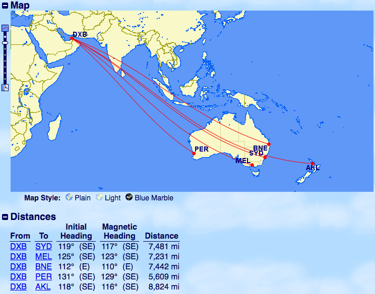 エミレーツ-A380運行-ドバイ-オセアニア