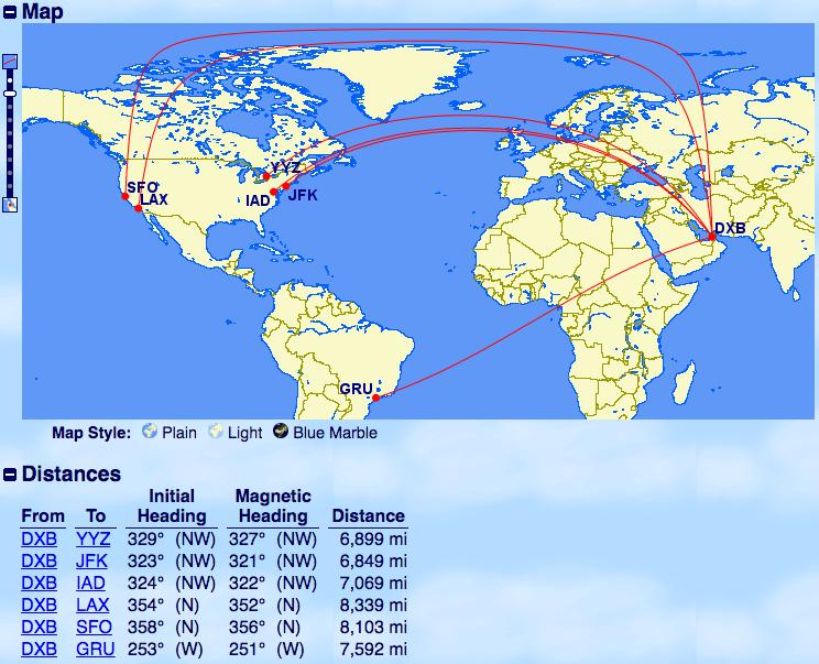 エミレーツ-A380運行-ドバイ-北米中南米