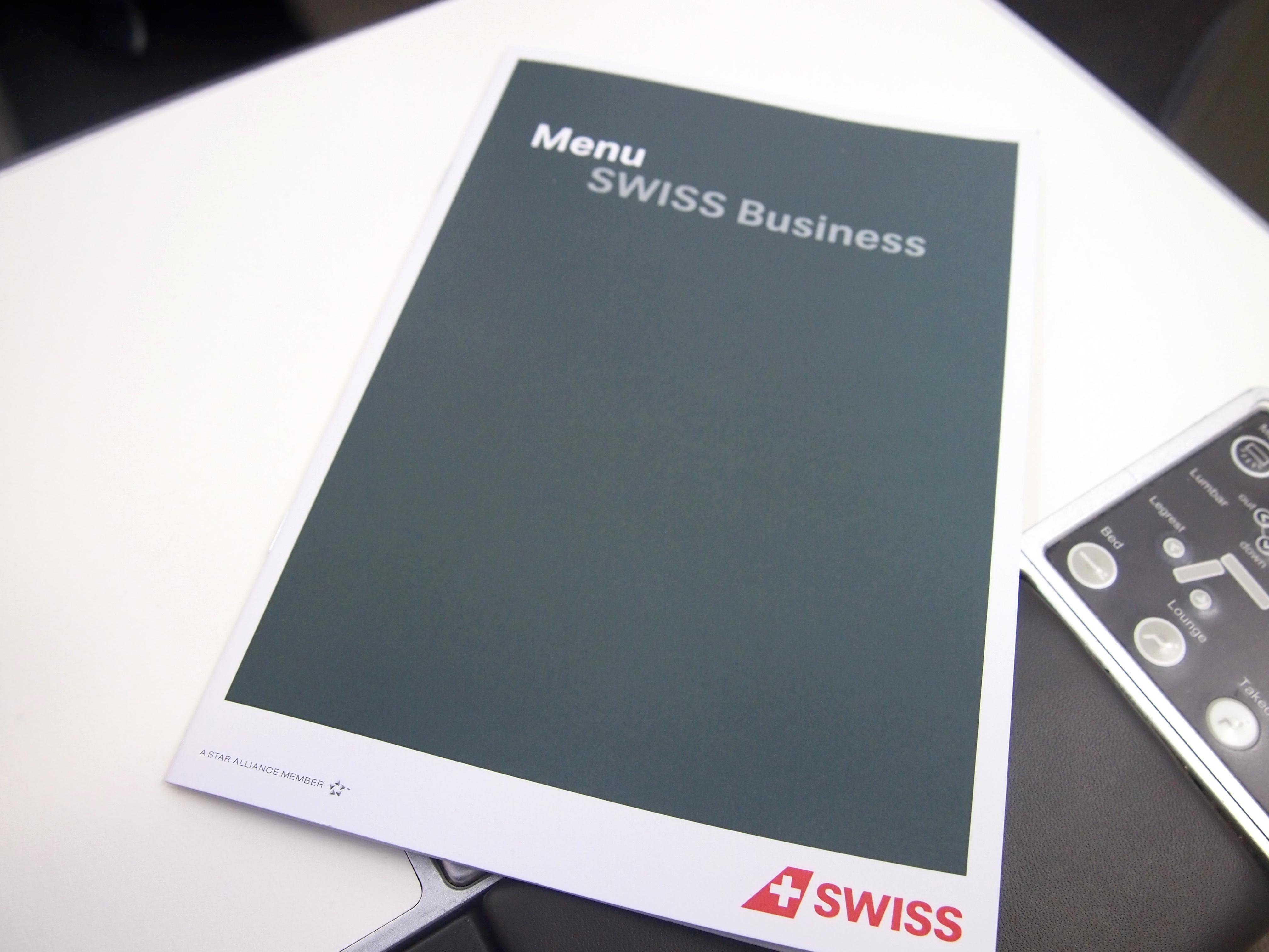 スイス航空-ビジネスクラス-機内食-メニュー