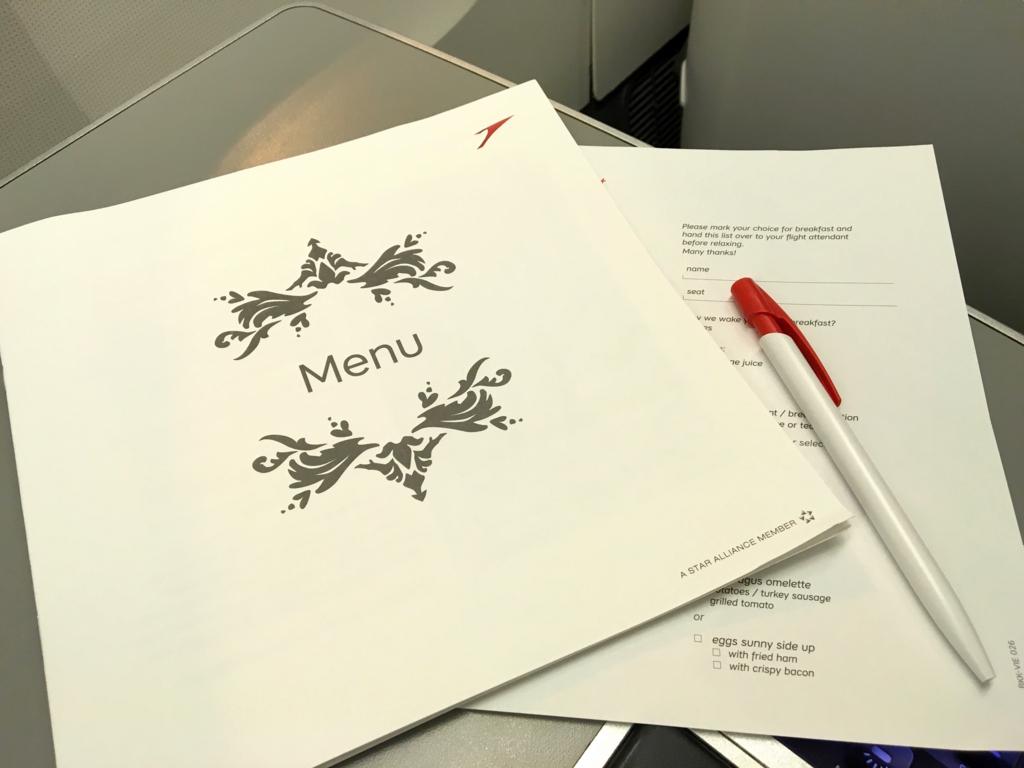 オーストリア航空-機内食-メニュー