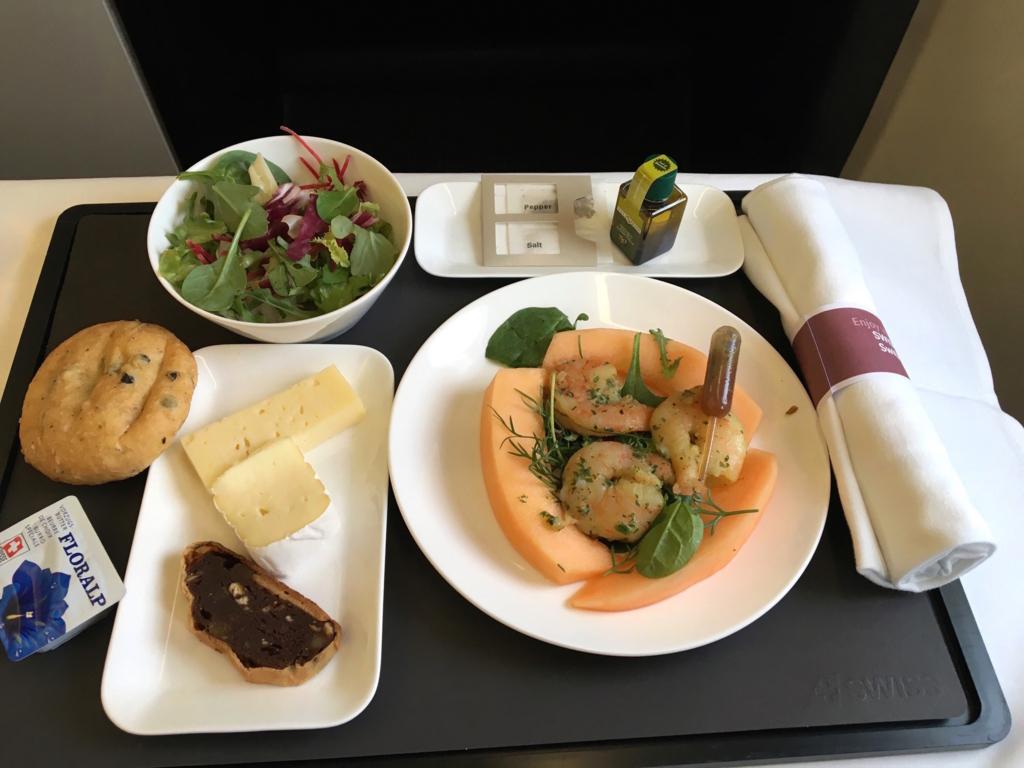スイス航空-ビジネスクラス-機内食-ファーストコース