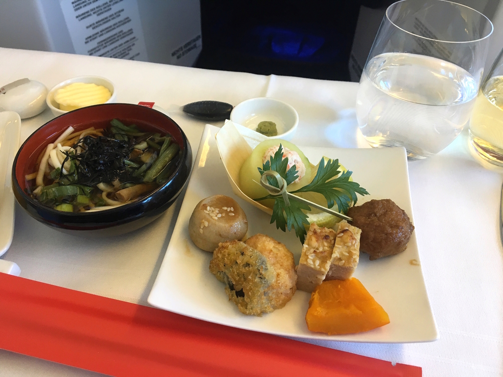 オーストリア航空-ビジネスクラス-機内食-前菜-和食
