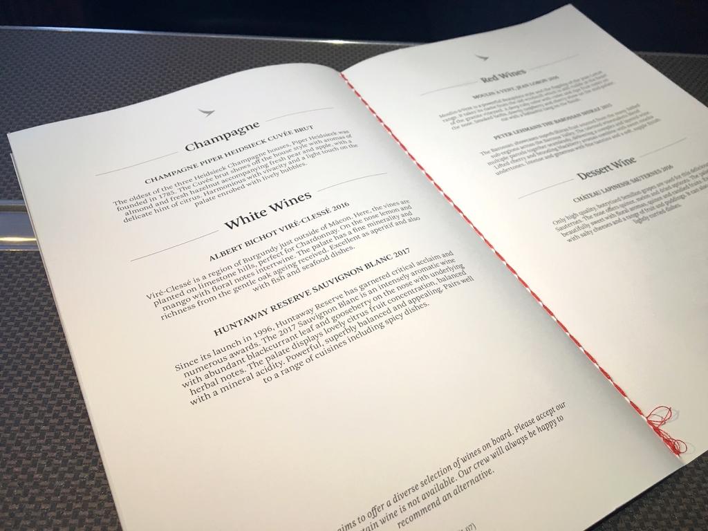 キャセイパシフィック航空-ビジネスクラス-機内食-メニュー