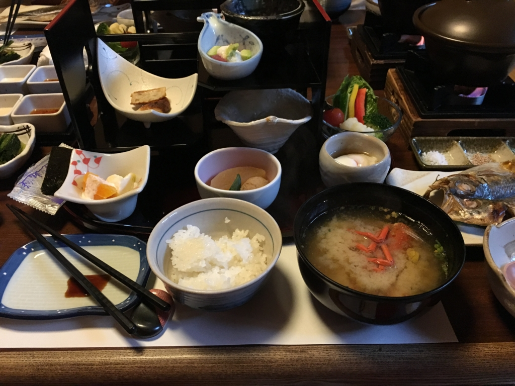 紀伊乃国屋 別亭 朝食 テーブルいっぱい