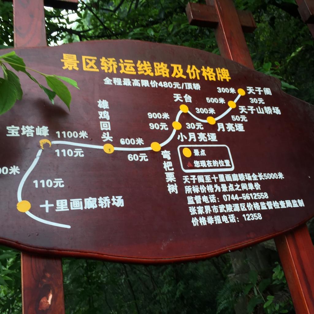 張家界 天子山自然保護区 籠屋 料金説明看板