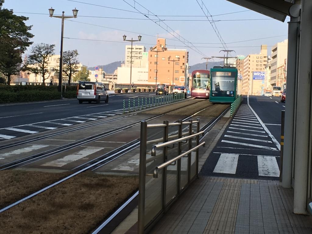 広島市内電車 原爆ドーム前駅 2号線到着