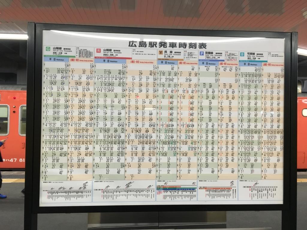 JR広島駅 呉線 時刻表