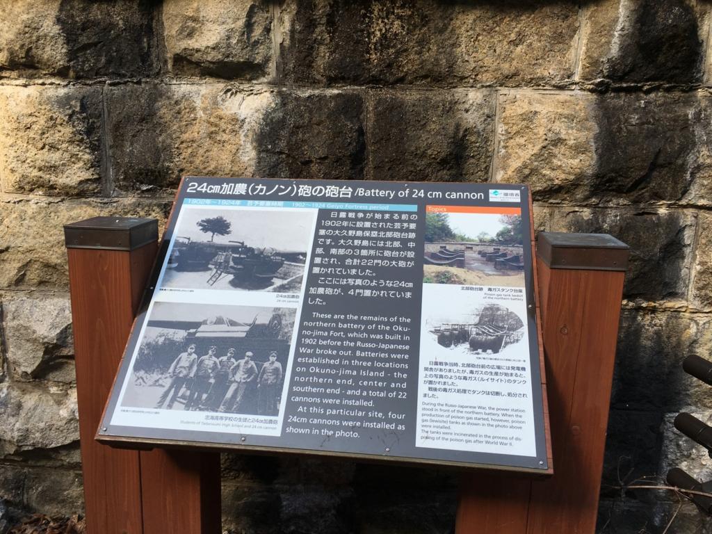大久野島 北部砲台跡 説明板