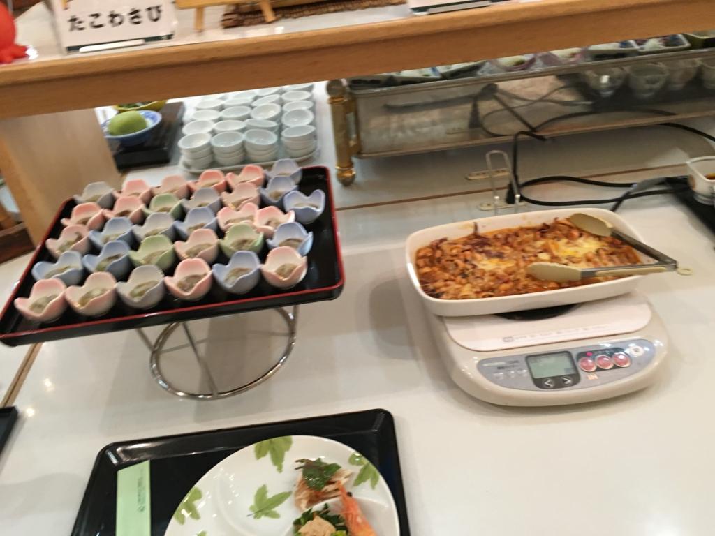 休暇村大久野島 夕食バイキング 小鉢