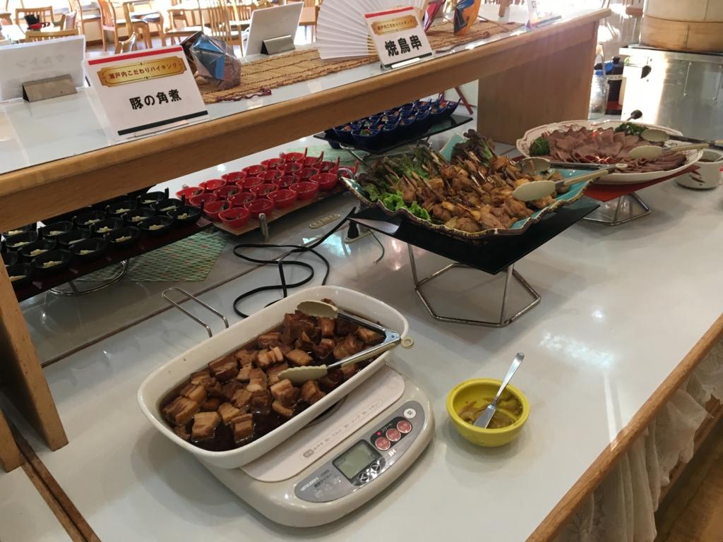 休暇村大久野島 夕食バイキング 豚の角煮