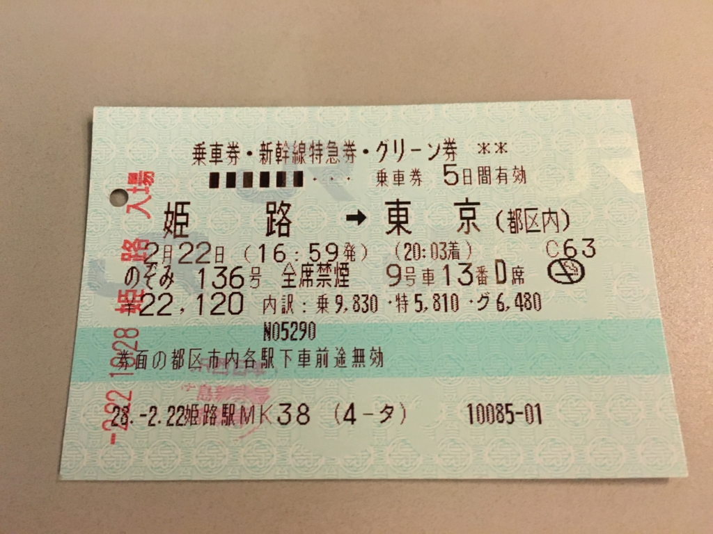 新幹線 グリーン乗車券 姫路から東京