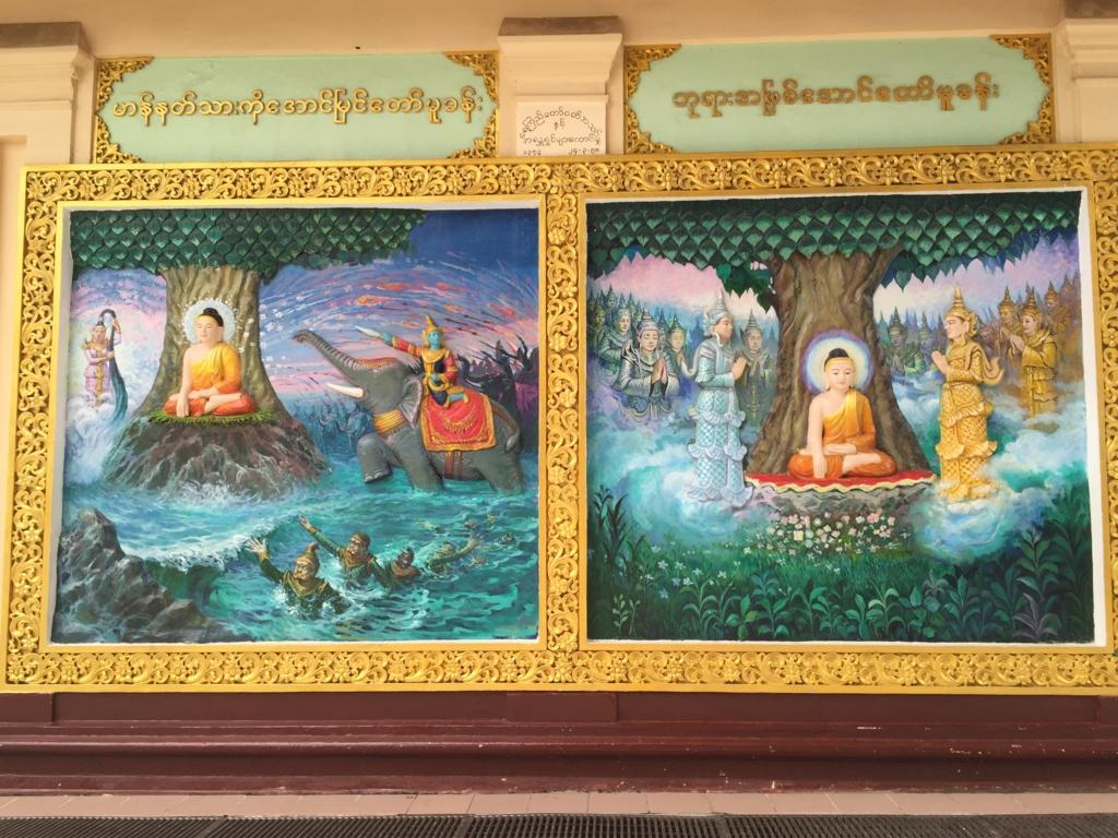 ミャンマー シュエダゴン・バゴダ 壁画