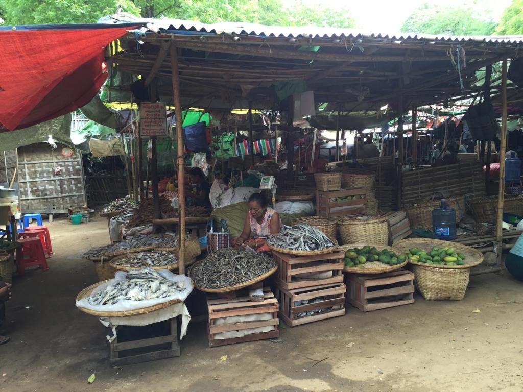 ミャンマー バガン ニャンウー・マーケット 干物屋