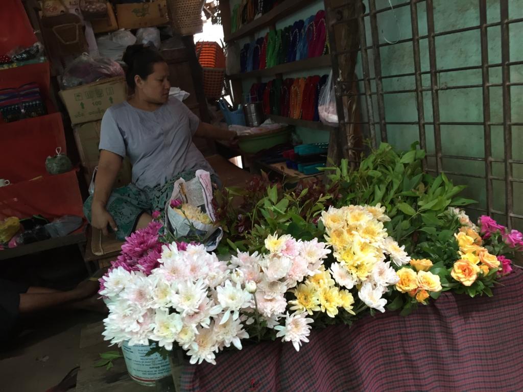 ミャンマー バガン ニャンウー・マーケット お花屋