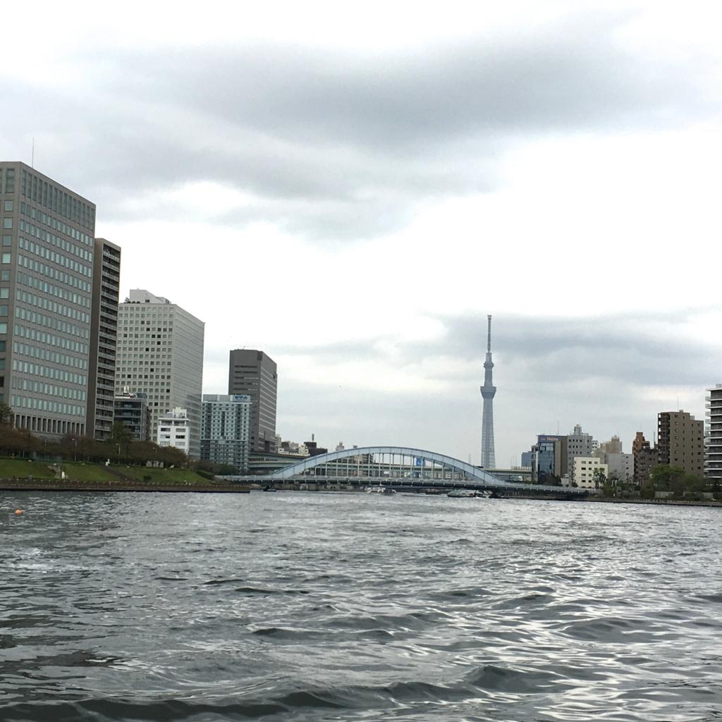 運河クルーズ 隅田川 永代橋とスカイツリー