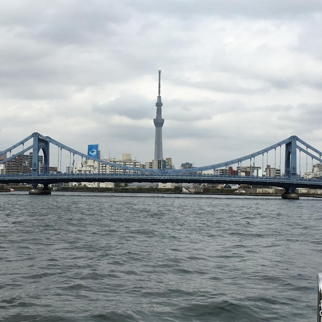 運河クルーズ 隅田川 清洲橋とスカイツリー