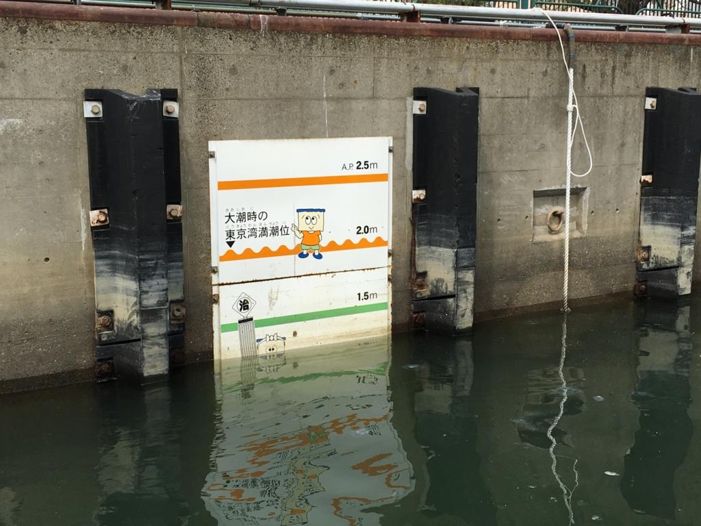 運河クルーズ 小名木川 扇橋閘門 最初の水位
