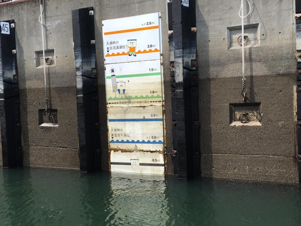 運河クルーズ 小名木川 扇橋閘門 水を抜いた後の水位