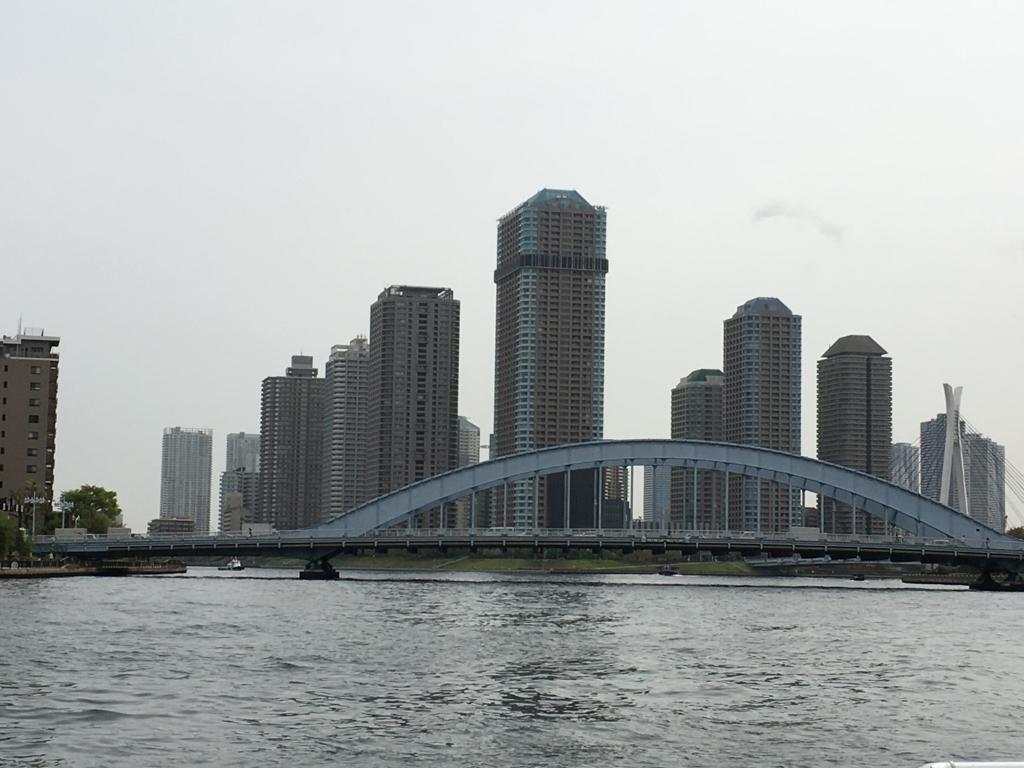 運河クルーズ 隅田川 永代橋越しの高層ビル