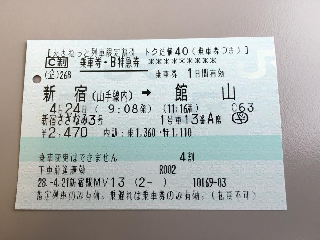 えきねっと 新宿-館山 トクだ値40切符