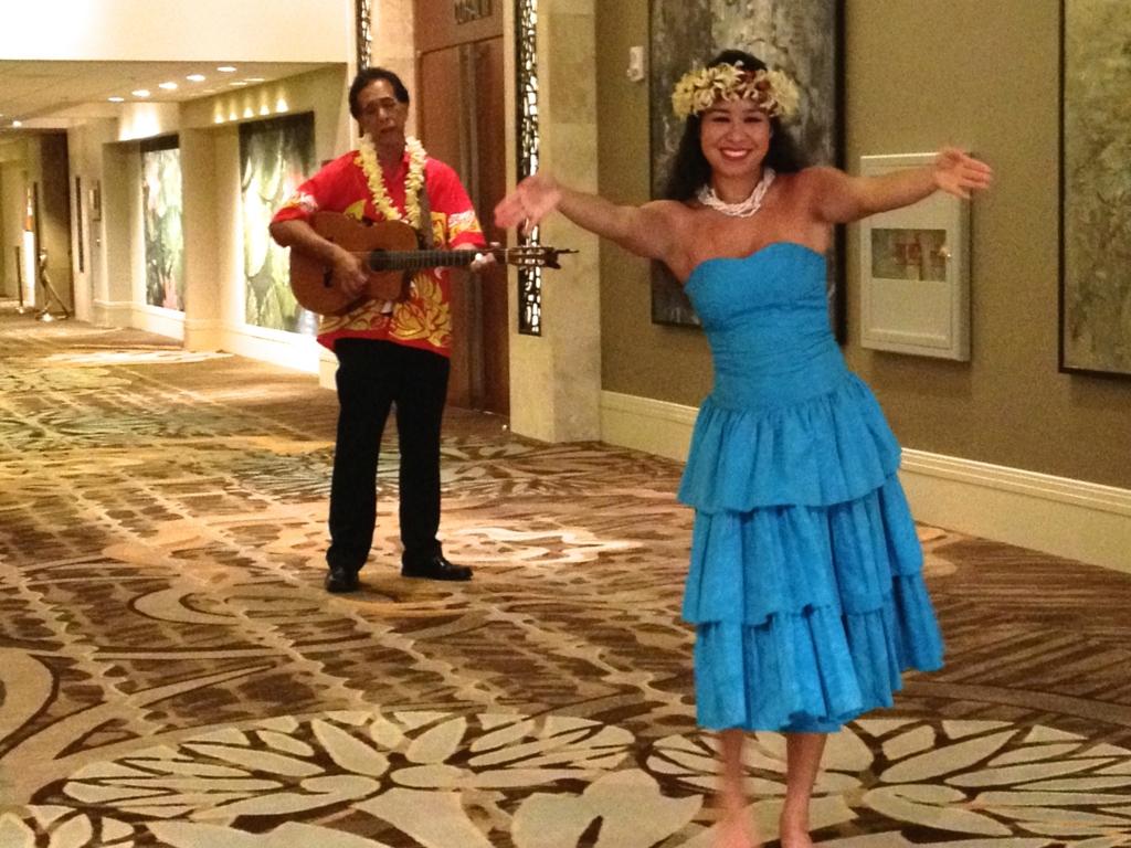 ハワイ オアフ島 ヒルトンハワイアンビレッジ 伝統ルアウ 出迎え