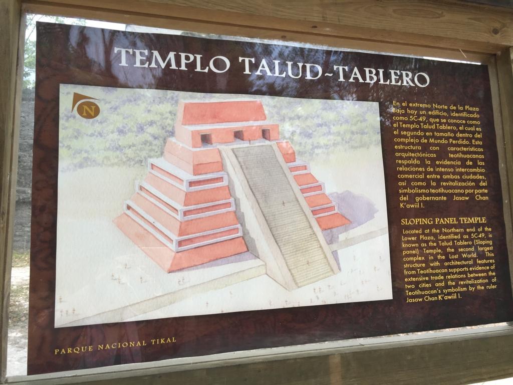 グアテマラ ティカル遺跡 「失われた世界」ピラミット 説明看板