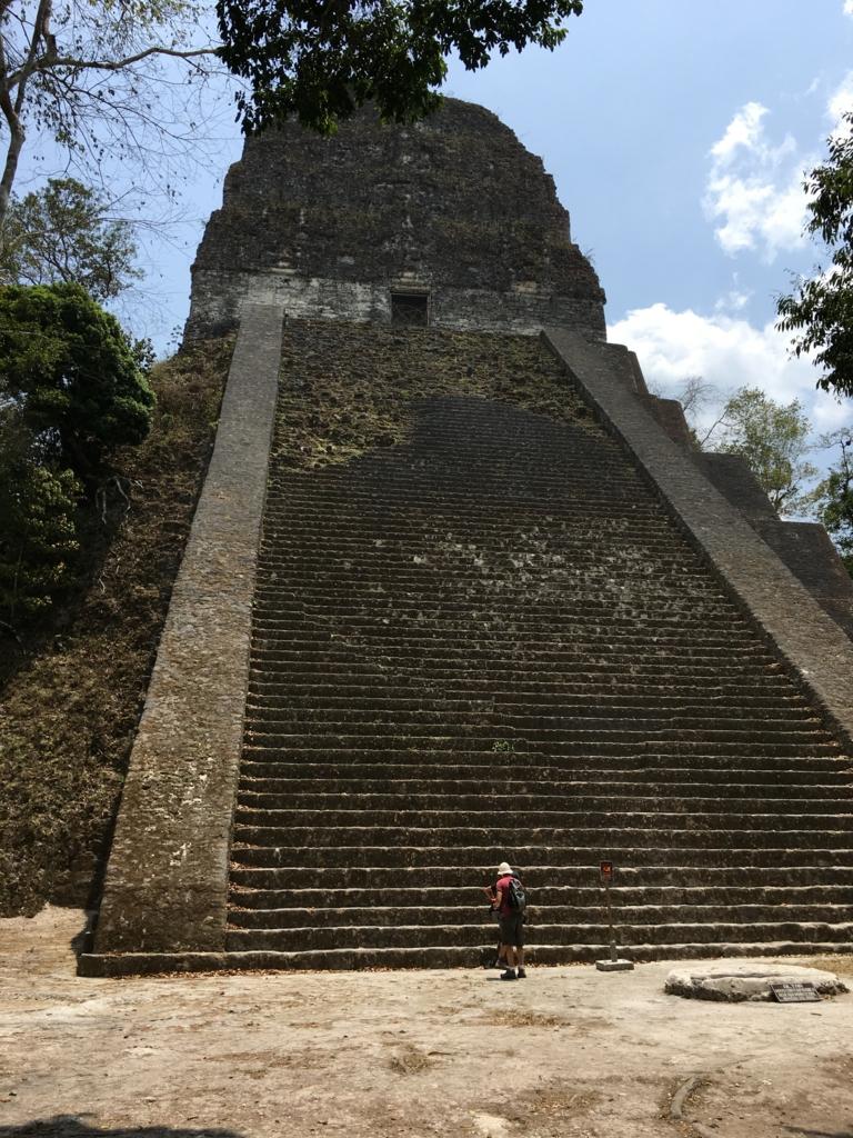 グアテマラ ティカル遺跡 「5号神殿」正面
