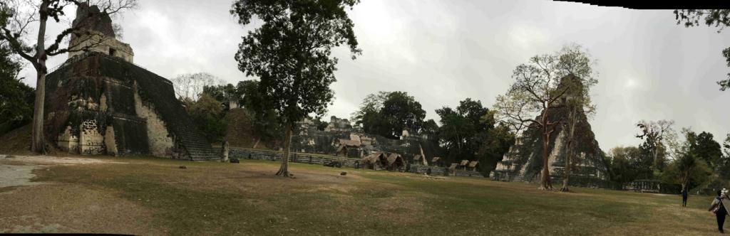 グアテマラ ティカル遺跡 グランプラザ パノラマ写真 早朝