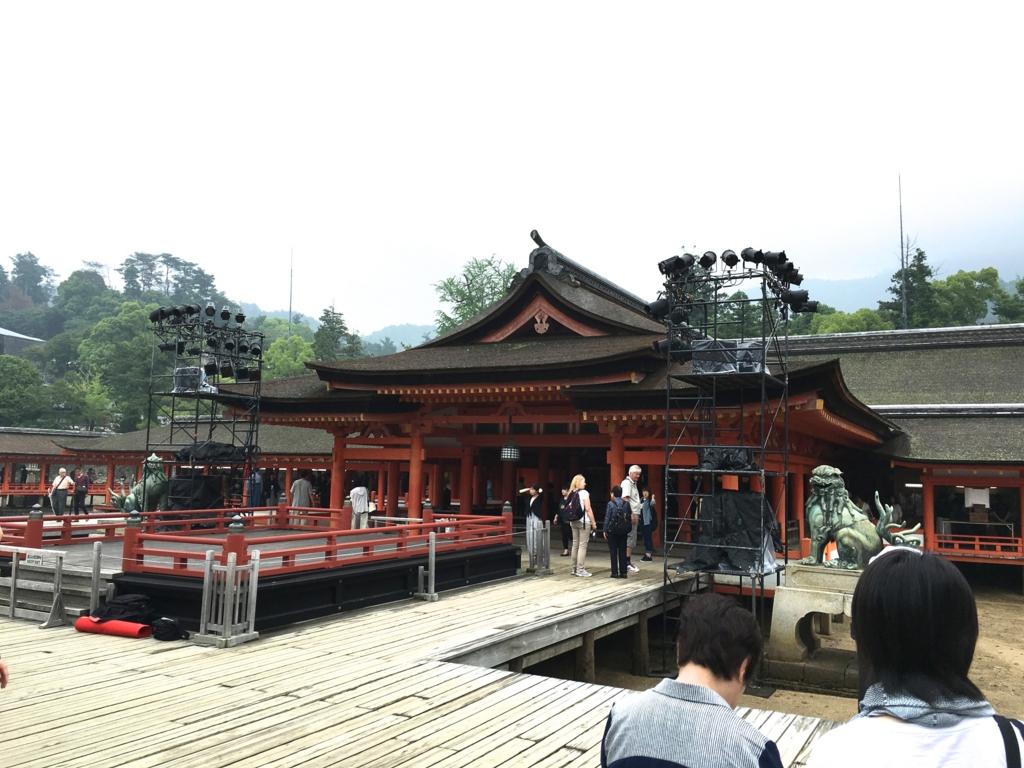 厳島神社 邪魔なコンサート機材