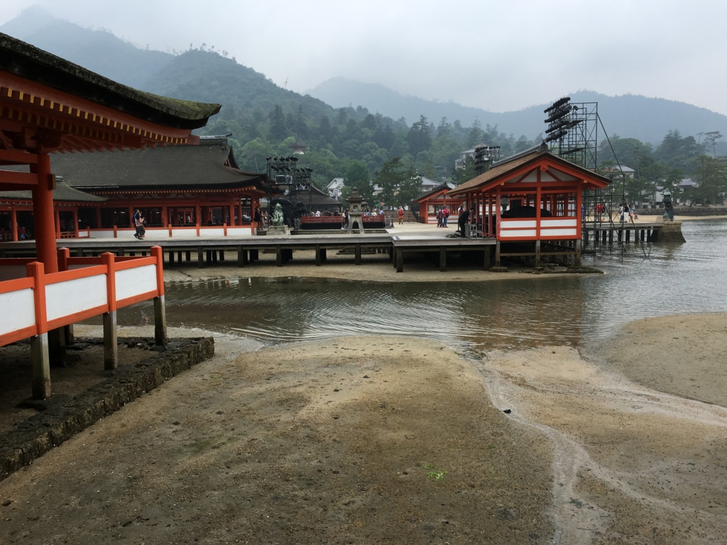 厳島神社 東回廊 潮位小 満潮約1時間20分前