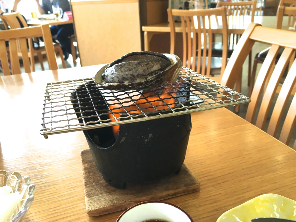 休暇村 大久野村 1日目夕食 アワビの踊り焼き