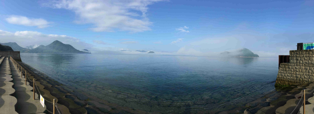 2回目のうさぎ島 大久野島早朝 休暇村より 海岸側 パノラマ