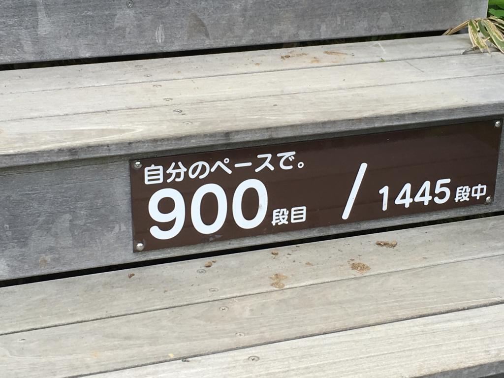 「霧降高原」天空回廊 階段 段数表示 900段目