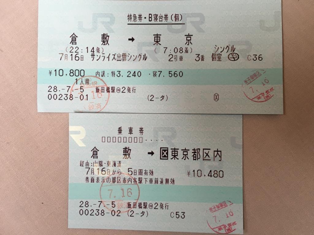 「サンライズ出雲」倉敷-東京切符