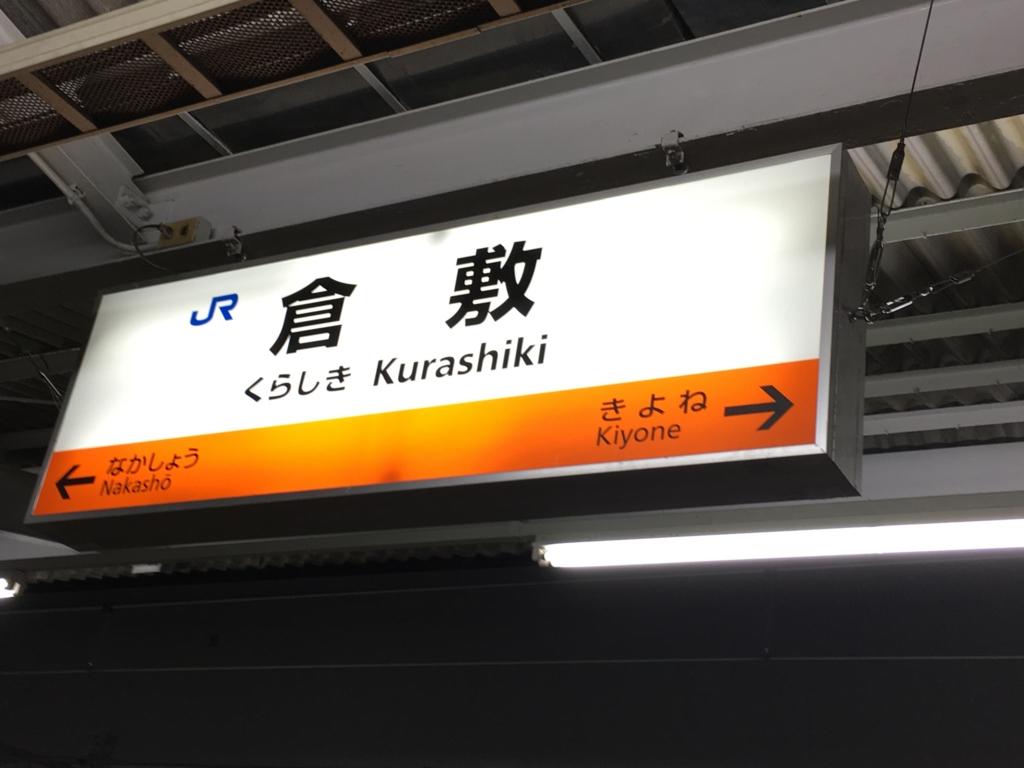 倉敷駅 ホーム 駅看板