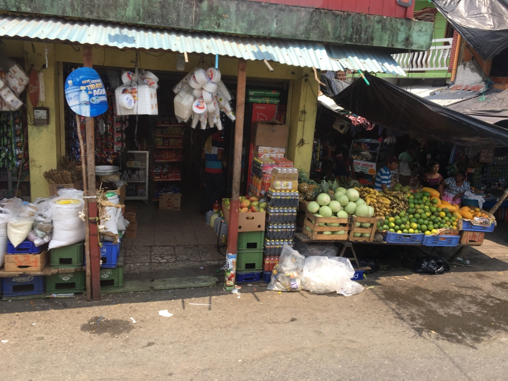 グアテマラ バスの車窓から 八百屋さん、乾物屋さん?