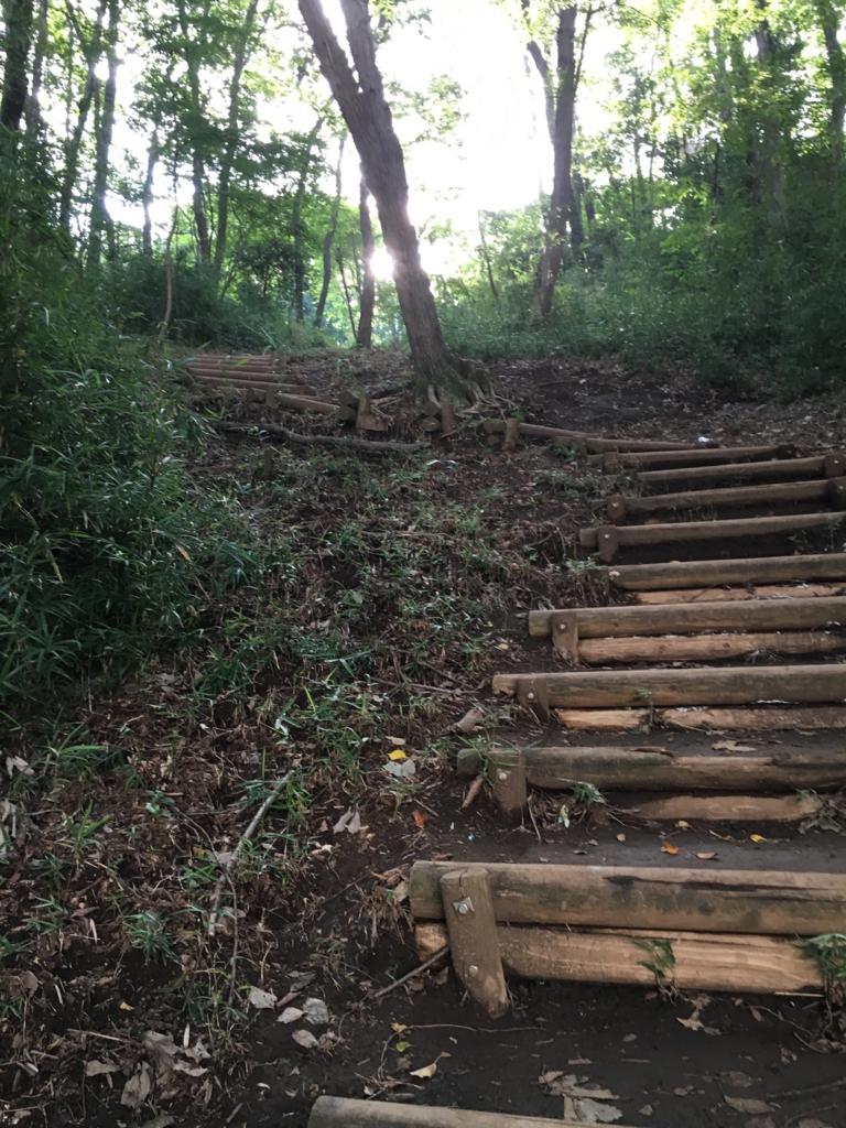 「小山内裏公園」多摩境駅に近い入り口からの途中の階段