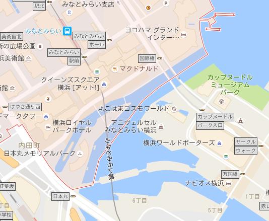 横浜 「みなとみらい」 日本丸、汽車道周辺 地図