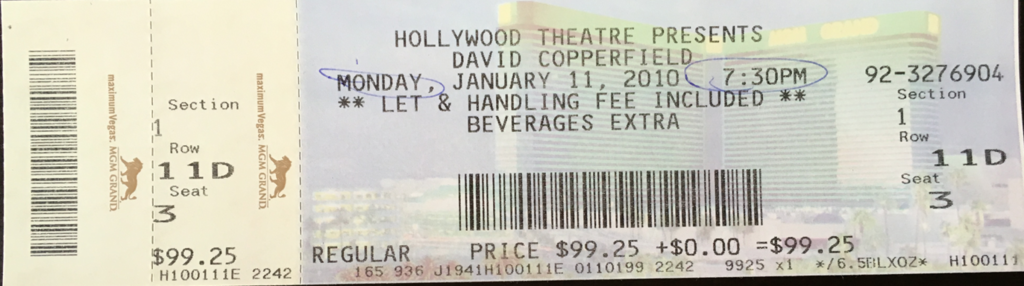 ラスベガス DAVID COPPERFIELD チケット