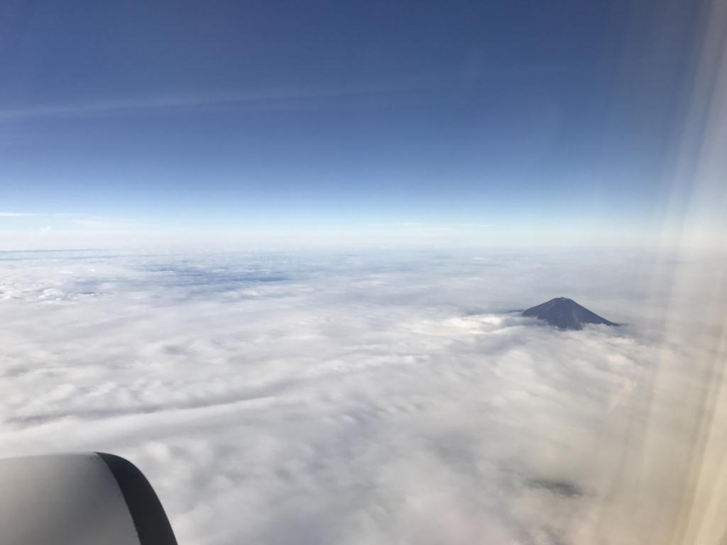 JL253便 車窓より富士山 接近
