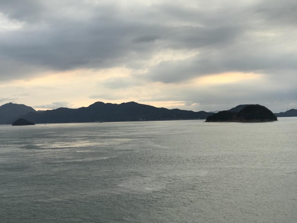 うさぎ島(大久野島) 休暇村より 曇り 夕焼け 残念