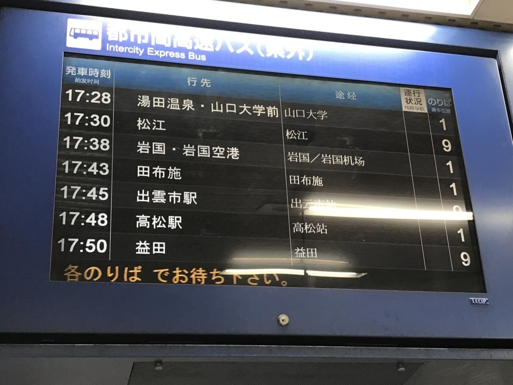 広島バスセンター 9番線 発車掲示板