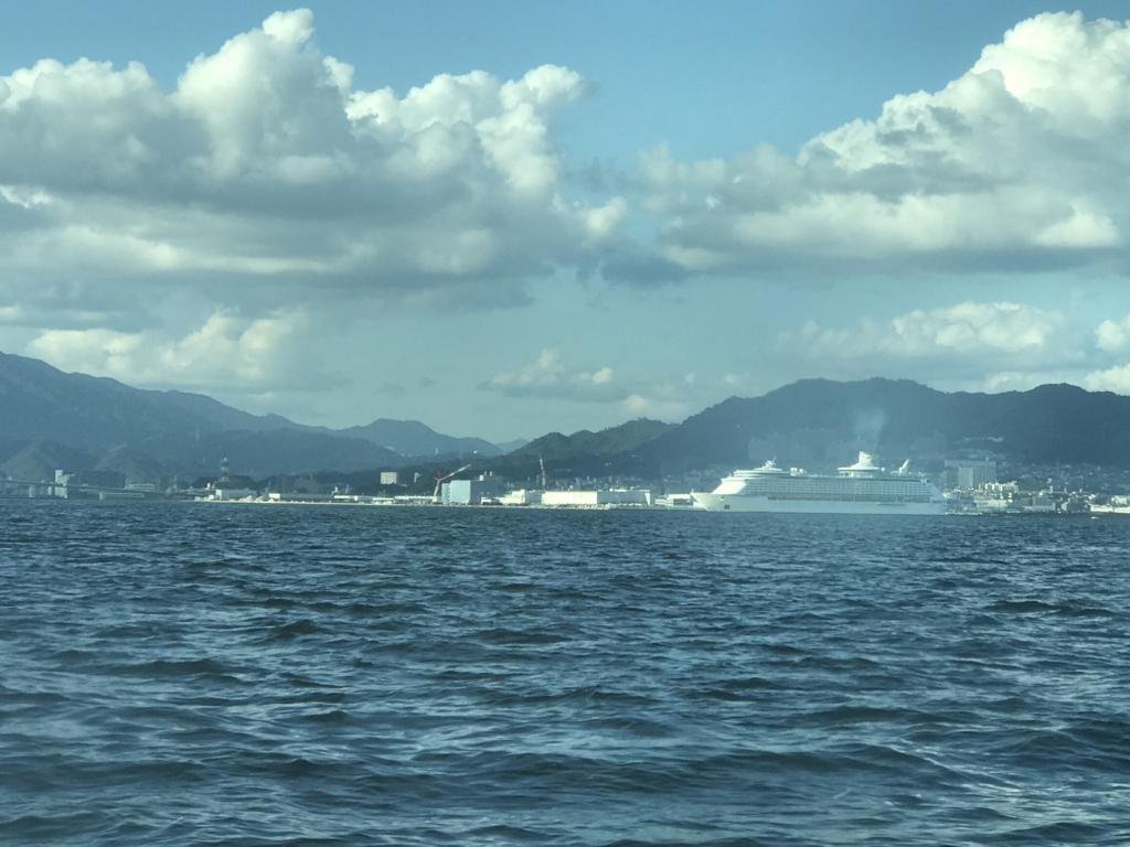 宮島 平和公園への 高速船からの風景
