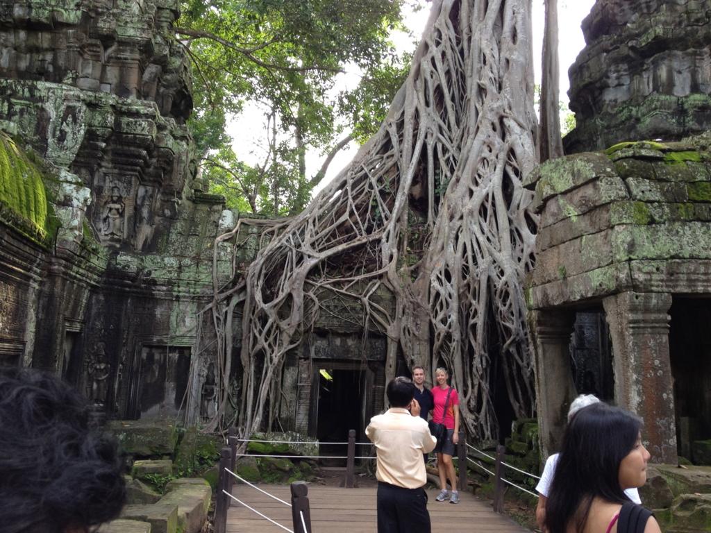 カンボジア シェムリアップ 「タ プローム」遺跡 浸食した巨木