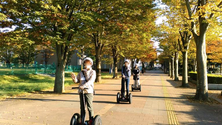 茨城県つくば 公道セグウエイツアー 公道を行進中